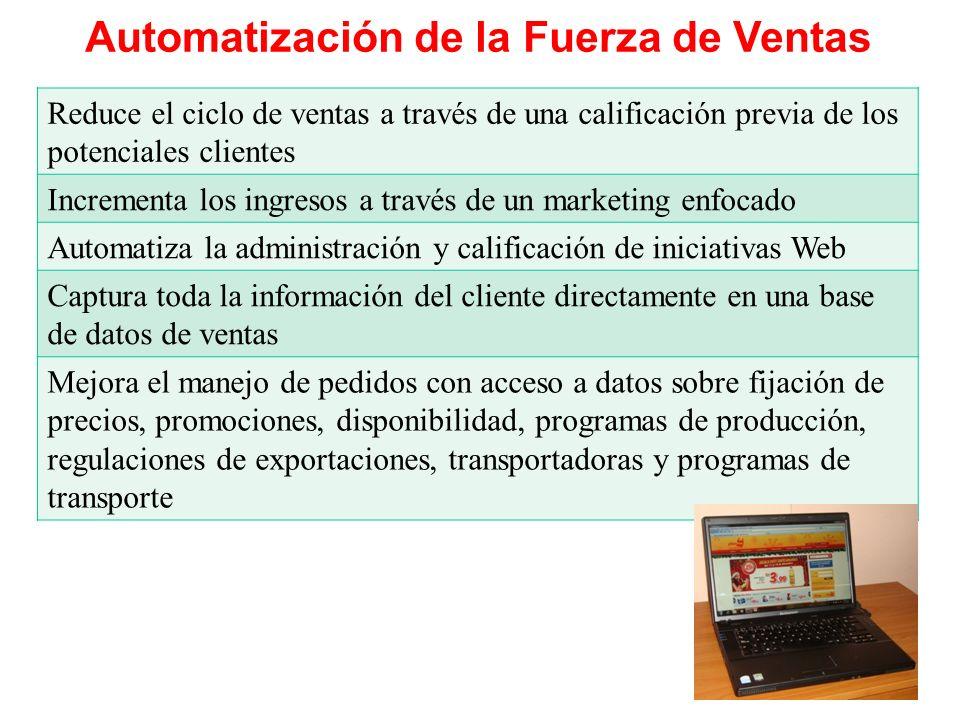Automatización de la Fuerza de Ventas Reduce el ciclo de ventas a través de una calificación previa de los potenciales clientes Incrementa los ingreso