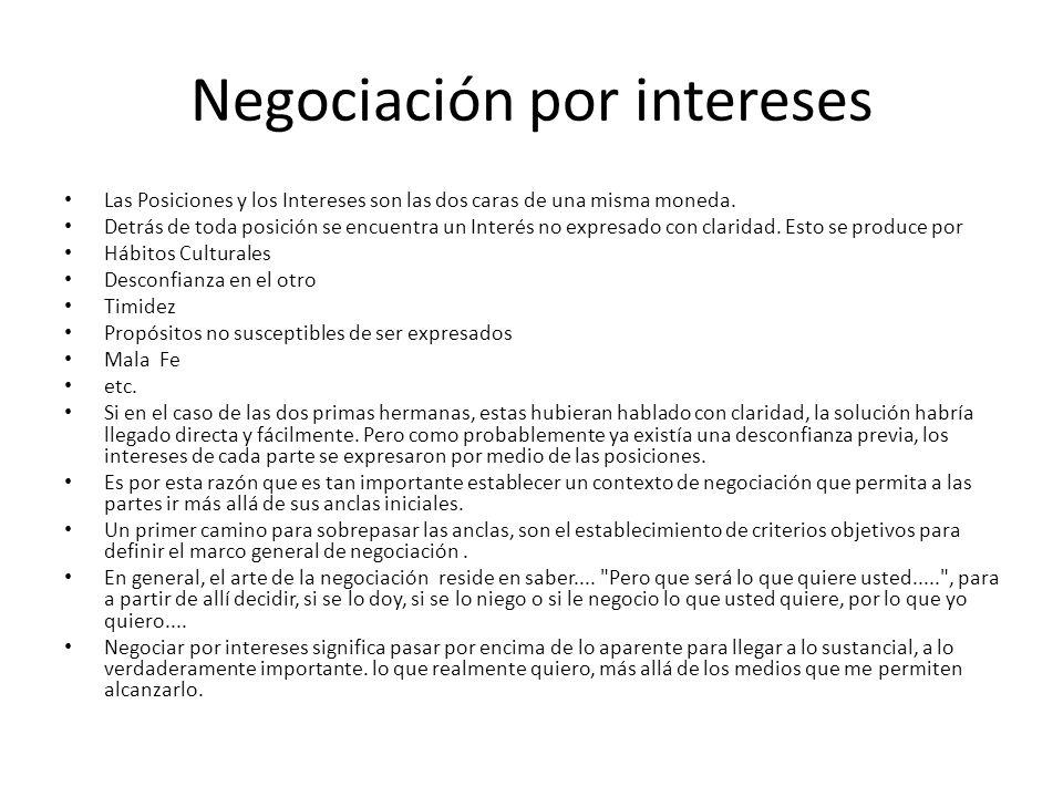 Negociación por intereses Las Posiciones y los Intereses son las dos caras de una misma moneda. Detrás de toda posición se encuentra un Interés no exp