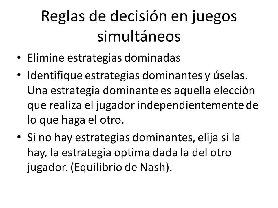 Reglas de decisión en juegos simultáneos Elimine estrategias dominadas Identifique estrategias dominantes y úselas. Una estrategia dominante es aquell