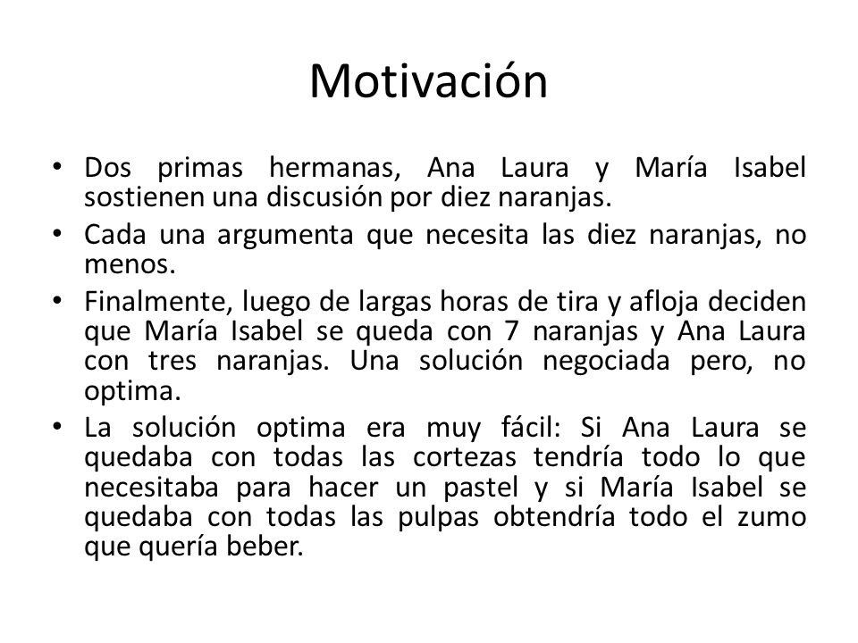 Motivación Dos primas hermanas, Ana Laura y María Isabel sostienen una discusión por diez naranjas. Cada una argumenta que necesita las diez naranjas,