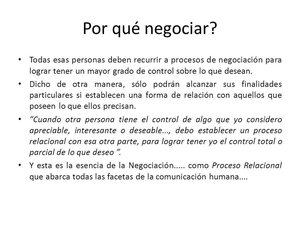 Por qué negociar? Todas esas personas deben recurrir a procesos de negociación para lograr tener un mayor grado de control sobre lo que desean. Dicho