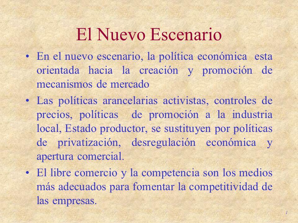 1 El Nuevo Escenario En el nuevo escenario, la política económica esta orientada hacia la creación y promoción de mecanismos de mercado Las políticas