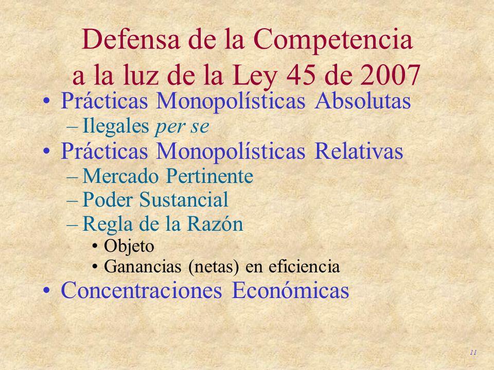 11 Defensa de la Competencia a la luz de la Ley 45 de 2007 Prácticas Monopolísticas Absolutas –Ilegales per se Prácticas Monopolísticas Relativas –Mer