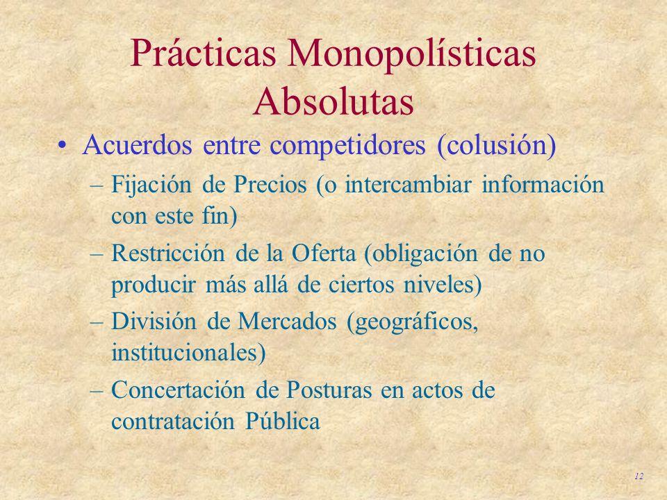 12 Prácticas Monopolísticas Absolutas Acuerdos entre competidores (colusión) –Fijación de Precios (o intercambiar información con este fin) –Restricci