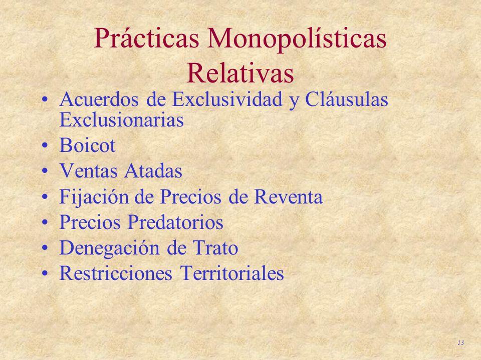 13 Prácticas Monopolísticas Relativas Acuerdos de Exclusividad y Cláusulas Exclusionarias Boicot Ventas Atadas Fijación de Precios de Reventa Precios