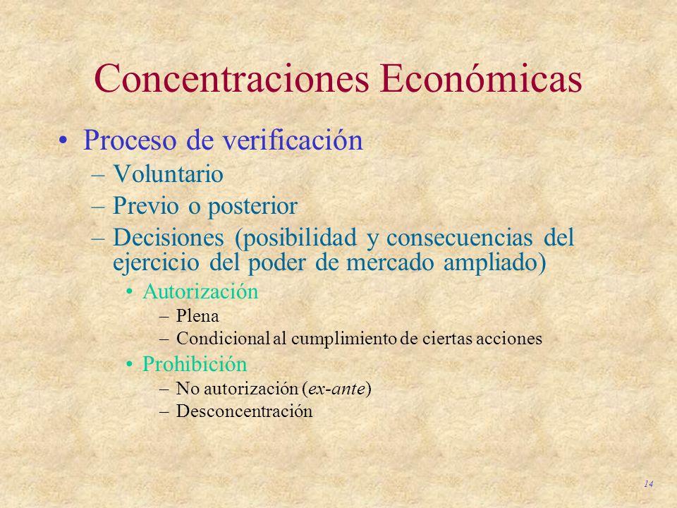14 Concentraciones Económicas Proceso de verificación –Voluntario –Previo o posterior –Decisiones (posibilidad y consecuencias del ejercicio del poder