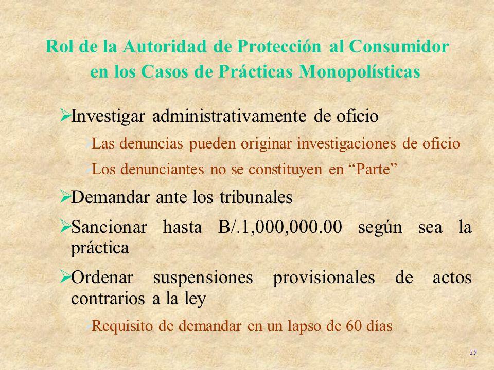 15 Rol de la Autoridad de Protección al Consumidor en los Casos de Prácticas Monopolísticas Investigar administrativamente de oficio Las denuncias pue