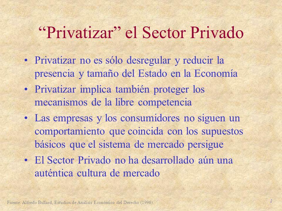 2 Privatizar el Sector Privado Privatizar no es sólo desregular y reducir la presencia y tamaño del Estado en la Economía Privatizar implica también p