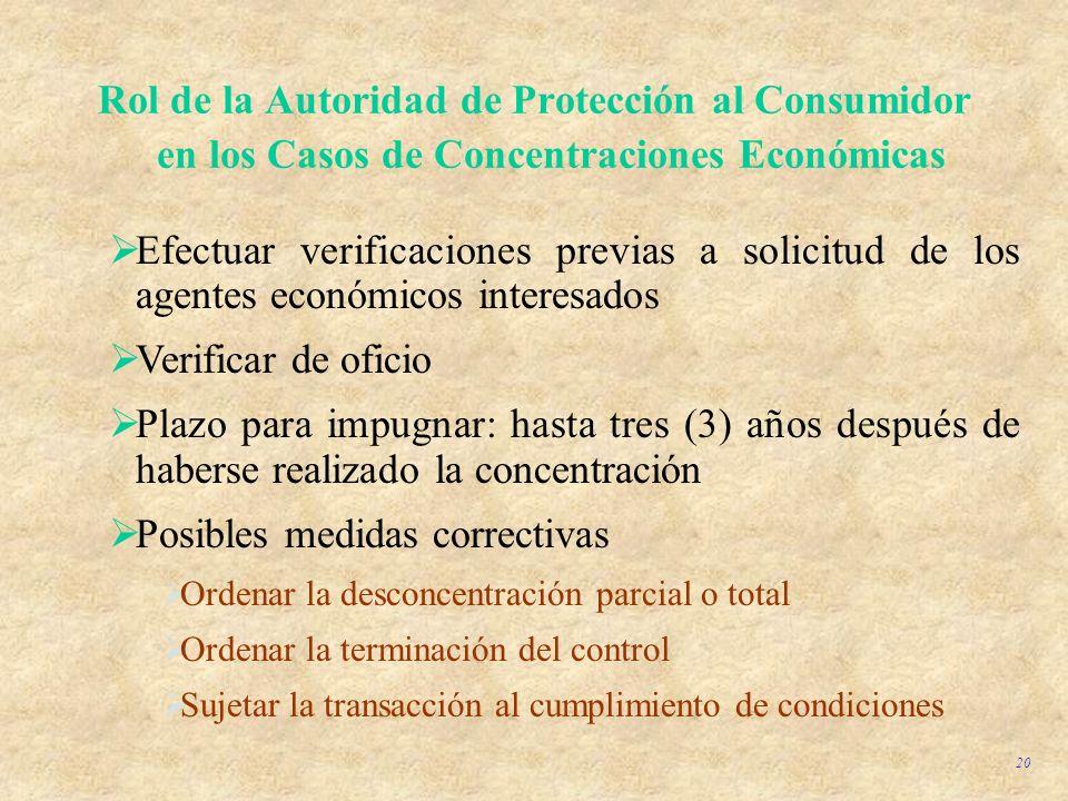 20 Rol de la Autoridad de Protección al Consumidor en los Casos de Concentraciones Económicas Efectuar verificaciones previas a solicitud de los agent