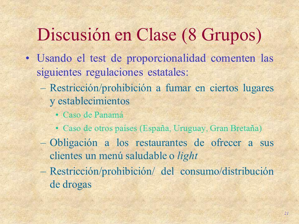 21 Discusión en Clase (8 Grupos) Usando el test de proporcionalidad comenten las siguientes regulaciones estatales: –Restricción/prohibición a fumar e