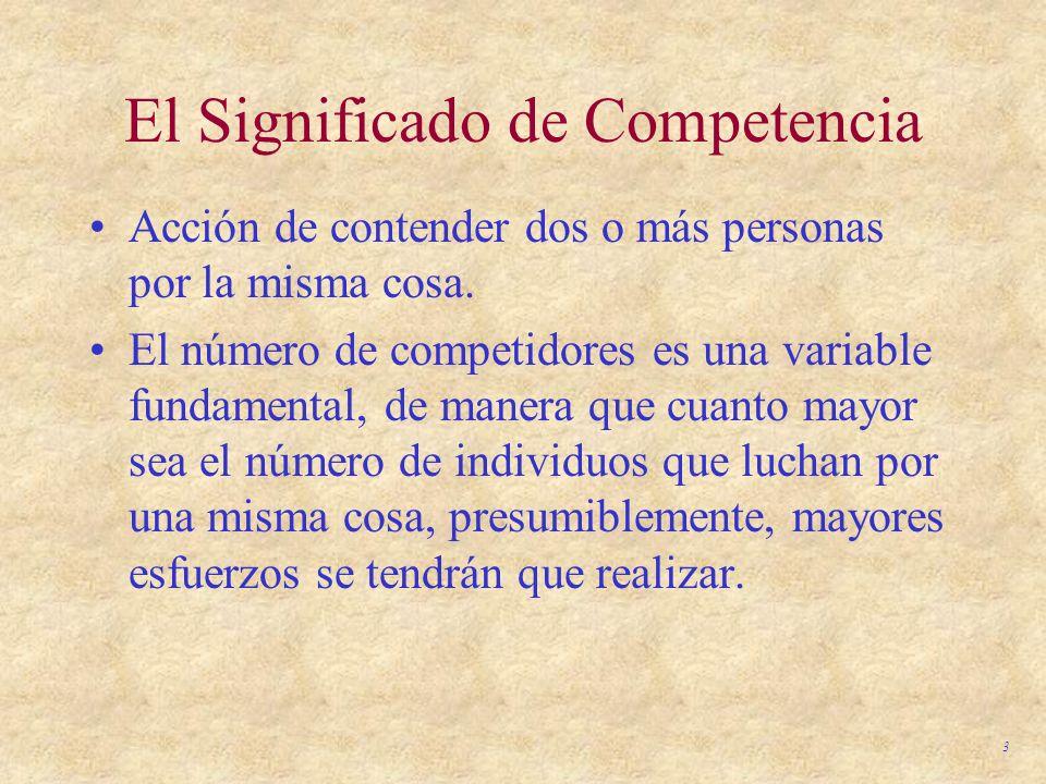 3 El Significado de Competencia Acción de contender dos o más personas por la misma cosa. El número de competidores es una variable fundamental, de ma