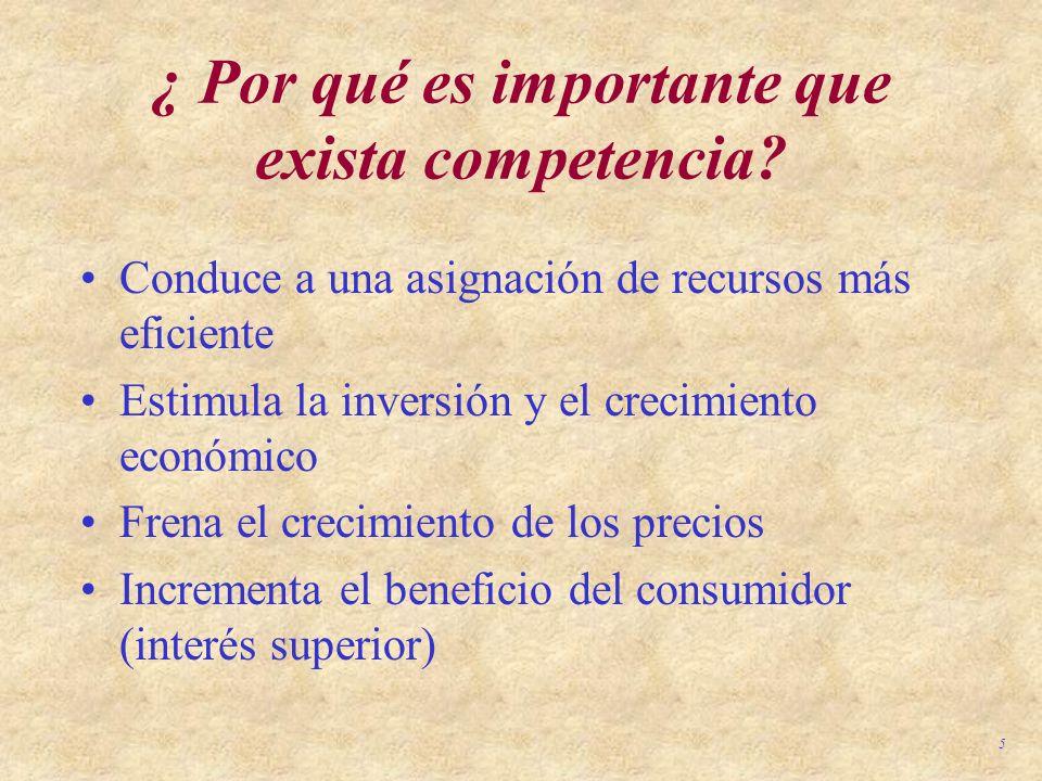 5 ¿ Por qué es importante que exista competencia? Conduce a una asignación de recursos más eficiente Estimula la inversión y el crecimiento económico