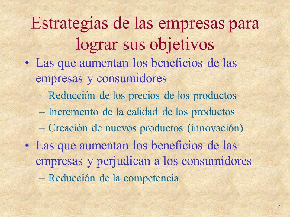 7 Estrategias de las empresas para lograr sus objetivos Las que aumentan los beneficios de las empresas y consumidores –Reducción de los precios de lo