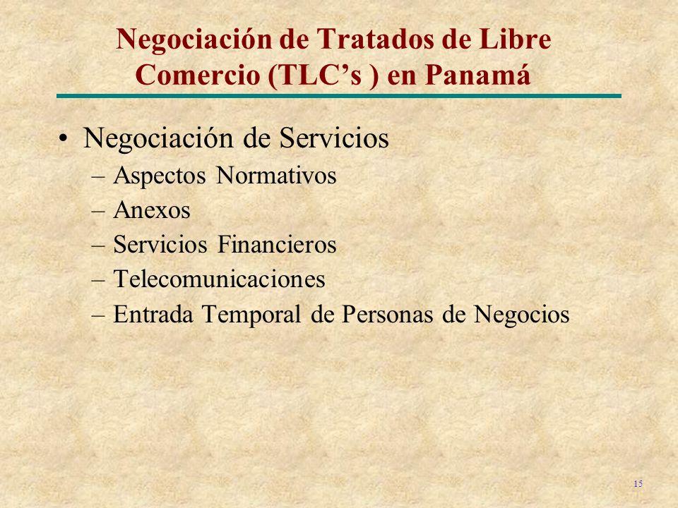 15 Negociación de Servicios –Aspectos Normativos –Anexos –Servicios Financieros –Telecomunicaciones –Entrada Temporal de Personas de Negocios Negociación de Tratados de Libre Comercio (TLCs ) en Panamá