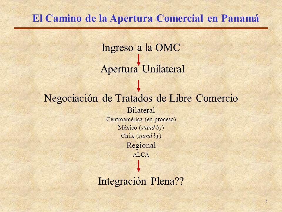 7 El Camino de la Apertura Comercial en Panamá Ingreso a la OMC Apertura Unilateral Negociación de Tratados de Libre Comercio Bilateral Centroamérica (en proceso) México (stand by) Chile (stand by) Regional ALCA Integración Plena??