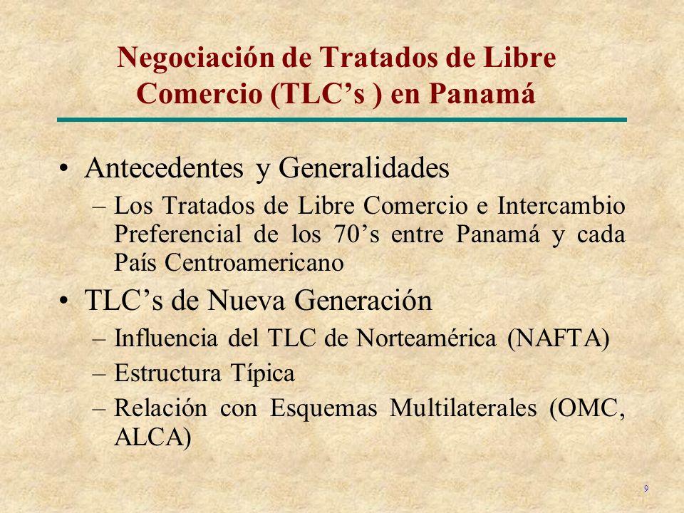 9 Negociación de Tratados de Libre Comercio (TLCs ) en Panamá Antecedentes y Generalidades –Los Tratados de Libre Comercio e Intercambio Preferencial de los 70s entre Panamá y cada País Centroamericano TLCs de Nueva Generación –Influencia del TLC de Norteamérica (NAFTA) –Estructura Típica –Relación con Esquemas Multilaterales (OMC, ALCA)