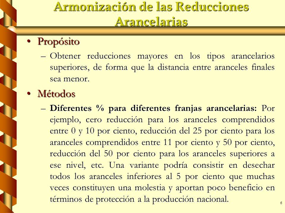 6 Armonización de las Reducciones Arancelarias PropósitoPropósito –Obtener reducciones mayores en los tipos arancelarios superiores, de forma que la d