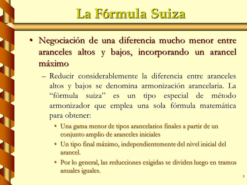 8 La Fórmula Suiza Negociación de una diferencia mucho menor entre aranceles altos y bajos, incorporando un arancel máximoNegociación de una diferenci