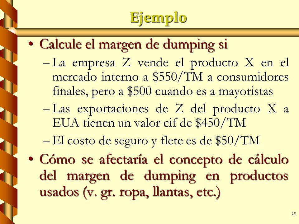 10 Ejemplo Calcule el margen de dumping siCalcule el margen de dumping si –La empresa Z vende el producto X en el mercado interno a $550/TM a consumid
