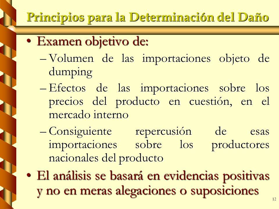 12 Principios para la Determinación del Daño Examen objetivo de:Examen objetivo de: –Volumen de las importaciones objeto de dumping –Efectos de las im