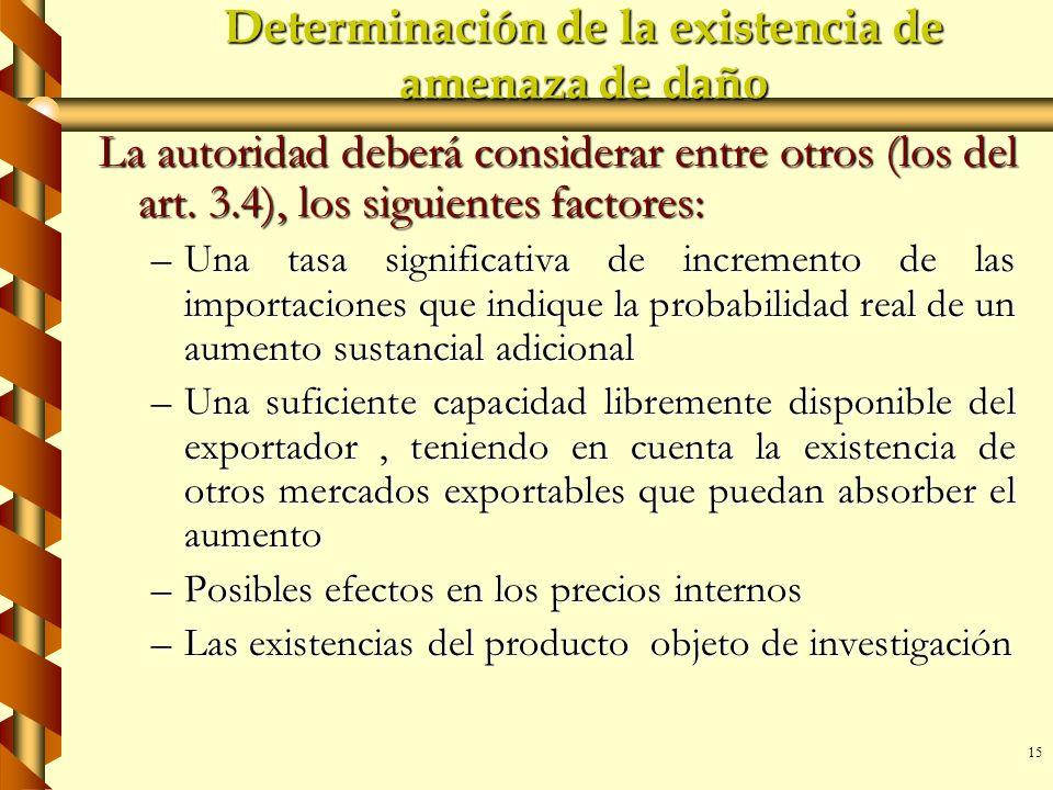 15 Determinación de la existencia de amenaza de daño La autoridad deberá considerar entre otros (los del art. 3.4), los siguientes factores: –Una tasa
