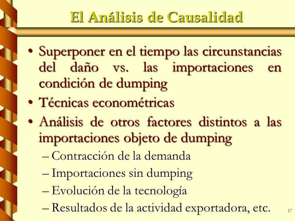 17 El Análisis de Causalidad Superponer en el tiempo las circunstancias del daño vs. las importaciones en condición de dumpingSuperponer en el tiempo