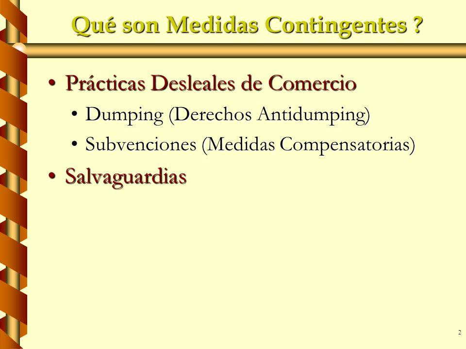 2 Qué son Medidas Contingentes ? Prácticas Desleales de ComercioPrácticas Desleales de Comercio Dumping (Derechos Antidumping)Dumping (Derechos Antidu