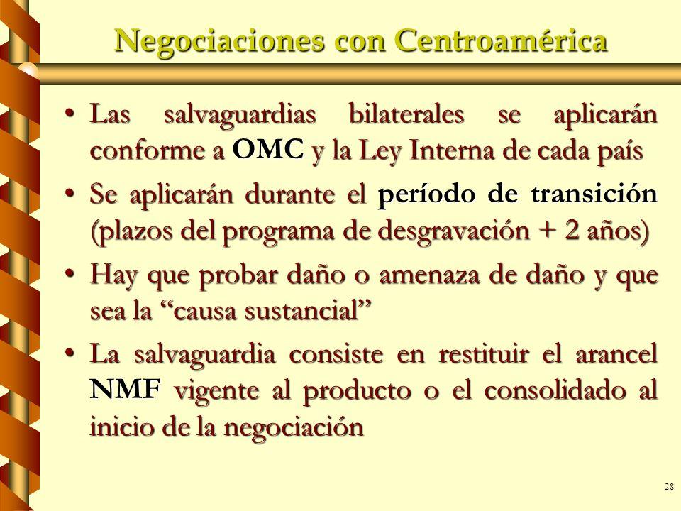 28 Negociaciones con Centroamérica Las salvaguardias bilaterales se aplicarán conforme a OMC y la Ley Interna de cada paísLas salvaguardias bilaterale