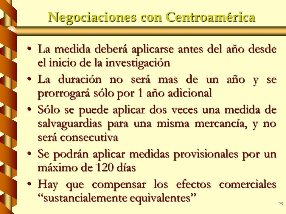 29 Negociaciones con Centroamérica La medida deberá aplicarse antes del año desde el inicio de la investigaciónLa medida deberá aplicarse antes del añ