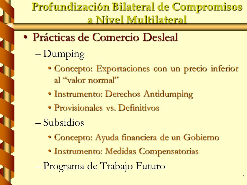 5 Profundización Bilateral de Compromisos a Nivel Multilateral Prácticas de Comercio DeslealPrácticas de Comercio Desleal –Dumping Concepto: Exportaci