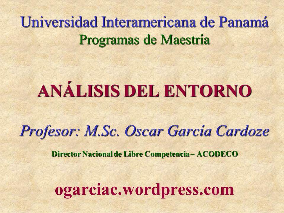 Oscar García CardozeAnálisis del Entorno2 EVALUACIÓN Comprobaciones de lectura (grupo de 5-7 personas) (Artículos posteados en twitter.com/ogarciac) 15% Exposiciones en grupo de 2-3 personas (Bibliografía actualizada) 25% Examen parcial individual (tipo test) 30% Trabajo final (grupo de 6-7 personas) 30% TOTAL 100% Se alienta la asistencia y participación en clase, y a través de los foros de la plataforma virtual de la UIP, pero no se otorgan puntos explícitamente por ello.