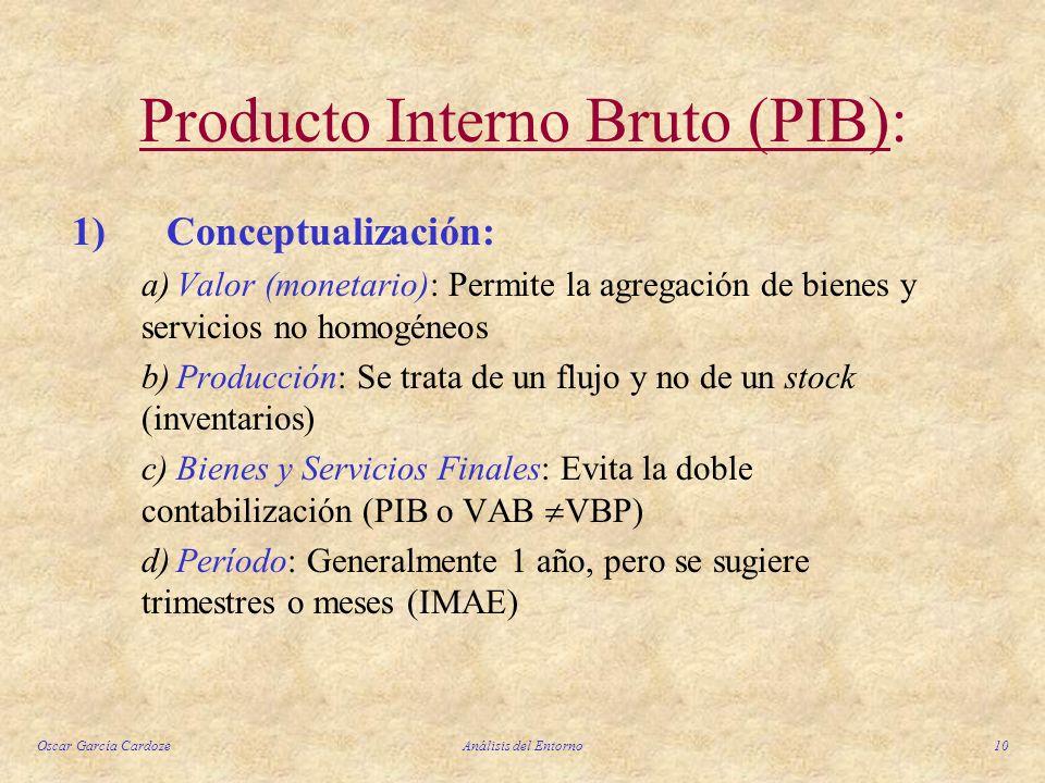 Oscar García CardozeAnálisis del Entorno10 Producto Interno Bruto (PIB): 1) Conceptualización: a)Valor (monetario): Permite la agregación de bienes y