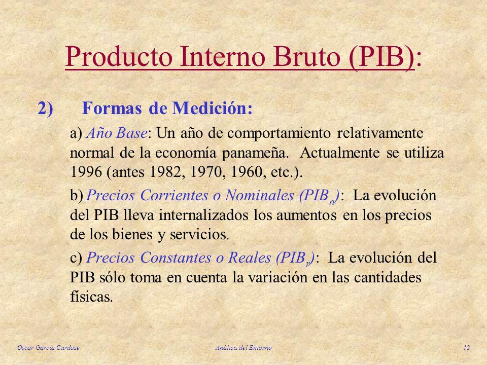 Oscar García CardozeAnálisis del Entorno12 Producto Interno Bruto (PIB): 2) Formas de Medición: a)Año Base: Un año de comportamiento relativamente nor