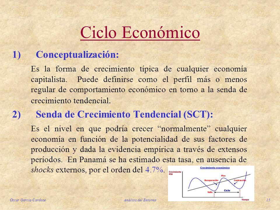 Oscar García CardozeAnálisis del Entorno15 Ciclo Económico 1) Conceptualización: Es la forma de crecimiento típica de cualquier economía capitalista.