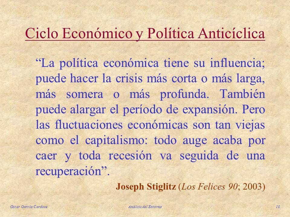Oscar García CardozeAnálisis del Entorno18 Ciclo Económico y Política Anticíclica La política económica tiene su influencia; puede hacer la crisis más