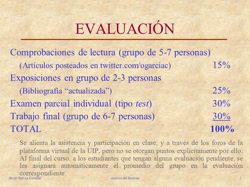 Oscar García CardozeAnálisis del Entorno2 EVALUACIÓN Comprobaciones de lectura (grupo de 5-7 personas) (Artículos posteados en twitter.com/ogarciac) 1