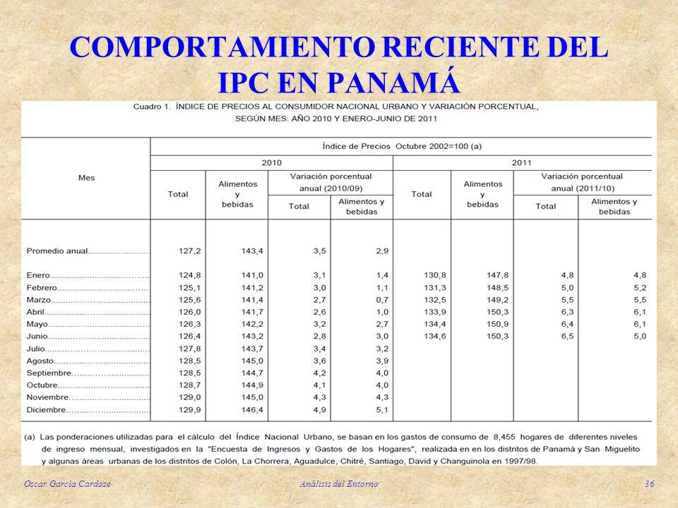 Oscar García CardozeAnálisis del Entorno36 COMPORTAMIENTO RECIENTE DEL IPC EN PANAMÁ