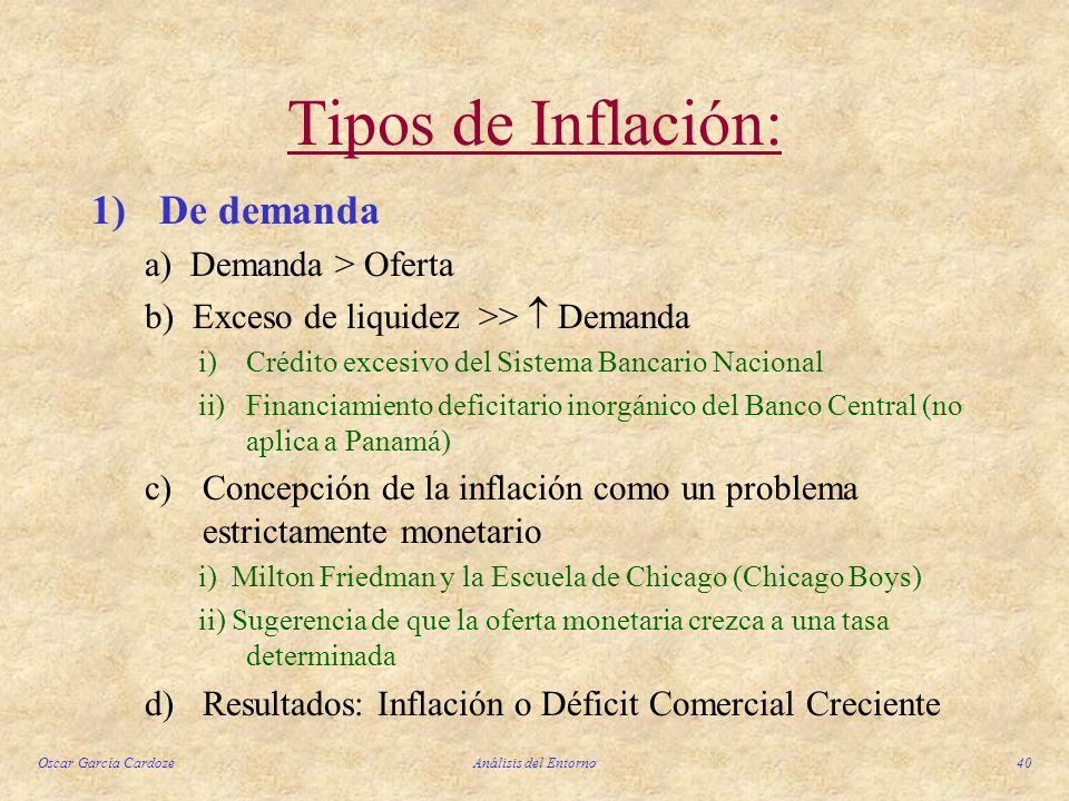 Oscar García CardozeAnálisis del Entorno40 Tipos de Inflación: 1)De demanda a) Demanda > Oferta b) Exceso de liquidez >> Demanda i)Crédito excesivo de