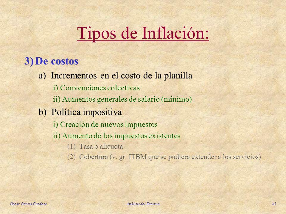 Oscar García CardozeAnálisis del Entorno43 Tipos de Inflación: 3)De costos a) Incrementos en el costo de la planilla i)Convenciones colectivas ii) Aum