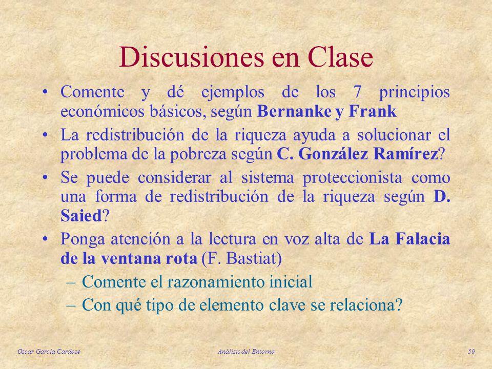 Oscar García CardozeAnálisis del Entorno50 Discusiones en Clase Comente y dé ejemplos de los 7 principios económicos básicos, según Bernanke y Frank L