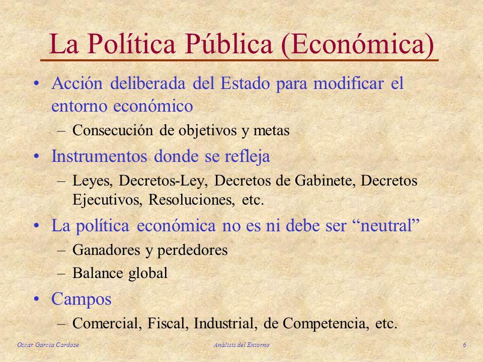 Oscar García CardozeAnálisis del Entorno6 La Política Pública (Económica) Acción deliberada del Estado para modificar el entorno económico –Consecució
