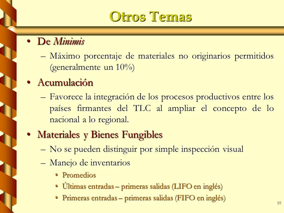 10 Otros Temas De MinimisDe Minimis –Máximo porcentaje de materiales no originarios permitidos (generalmente un 10%) AcumulaciónAcumulación –Favorece