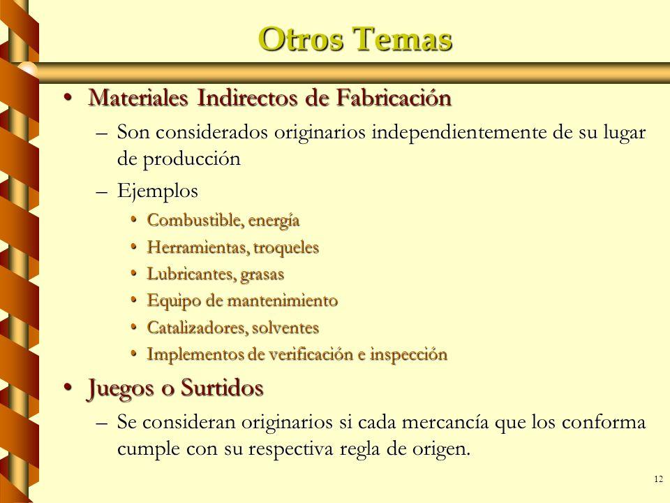 12 Otros Temas Materiales Indirectos de FabricaciónMateriales Indirectos de Fabricación –Son considerados originarios independientemente de su lugar d