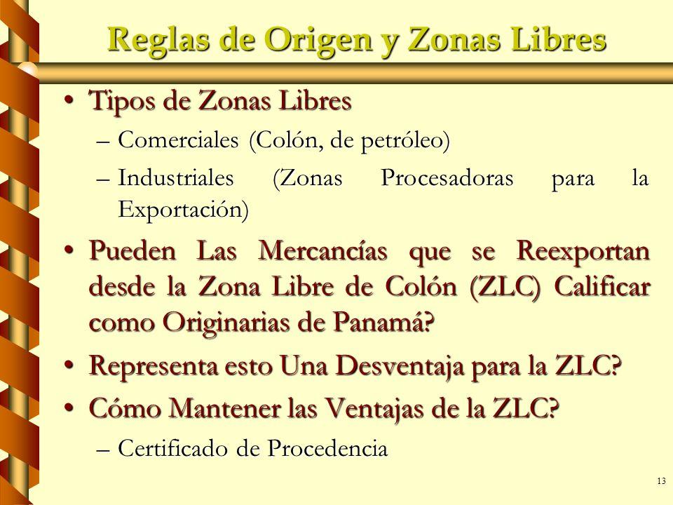 13 Reglas de Origen y Zonas Libres Tipos de Zonas LibresTipos de Zonas Libres –Comerciales (Colón, de petróleo) –Industriales (Zonas Procesadoras para