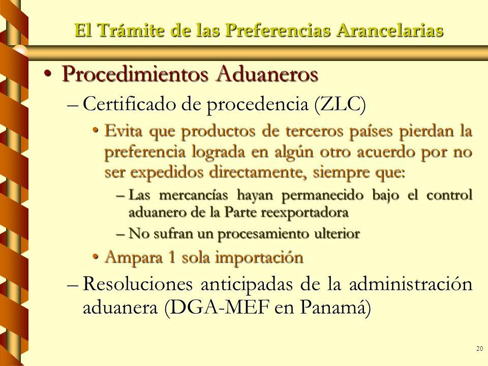 20 El Trámite de las Preferencias Arancelarias Procedimientos AduanerosProcedimientos Aduaneros –Certificado de procedencia (ZLC) Evita que productos