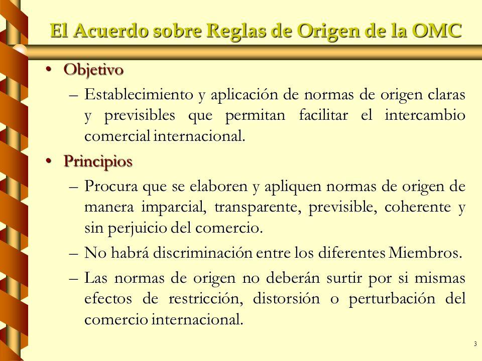 3 El Acuerdo sobre Reglas de Origen de la OMC ObjetivoObjetivo –Establecimiento y aplicación de normas de origen claras y previsibles que permitan fac