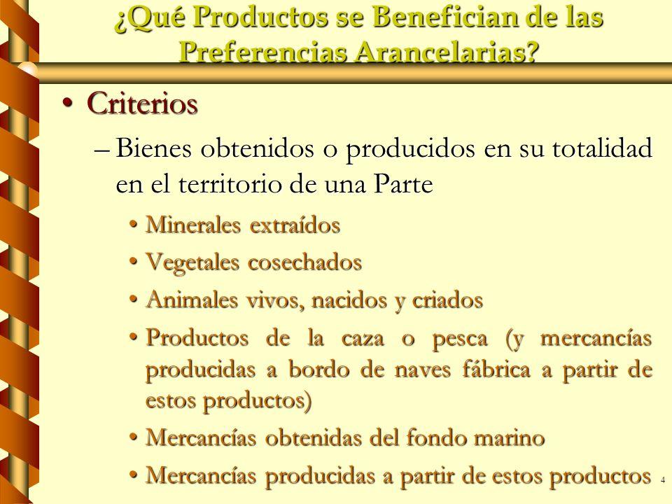 4 ¿Qué Productos se Benefician de las Preferencias Arancelarias? CriteriosCriterios –Bienes obtenidos o producidos en su totalidad en el territorio de