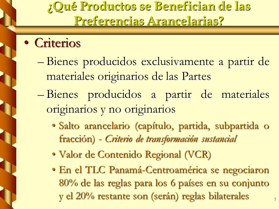 5 ¿Qué Productos se Benefician de las Preferencias Arancelarias? CriteriosCriterios –Bienes producidos exclusivamente a partir de materiales originari