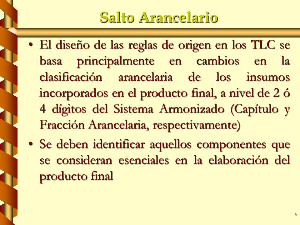 6 Salto Arancelario El diseño de las reglas de origen en los TLC se basa principalmente en cambios en la clasificación arancelaria de los insumos inco