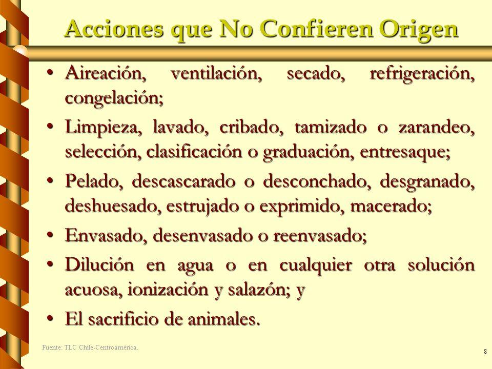 8 Acciones que No Confieren Origen A ireación, ventilación, secado, refrigeración, congelación;A ireación, ventilación, secado, refrigeración, congela